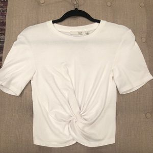 Aritzia cropped tied front shirt